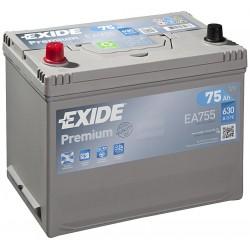 Autobaterie EXIDE Premium 75Ah, 630A, 12V, EA755